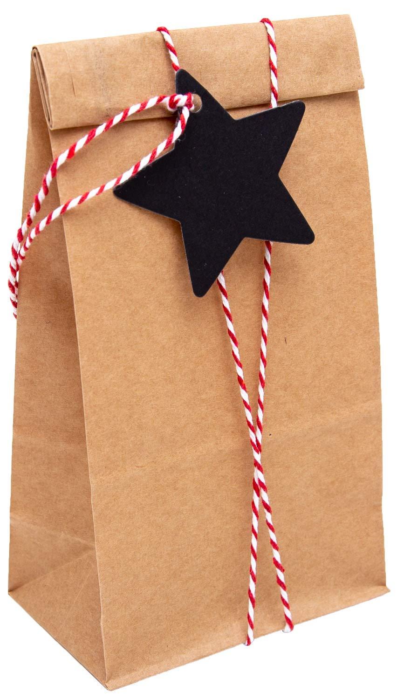 100/% Mosel Lot de 24 sacs en papier marron 10 x 24 x 6 cm 24 étiquettes cadeaux noirs 6 x 6 cm 20 m de cordon rouge blanc 100/%Mosel