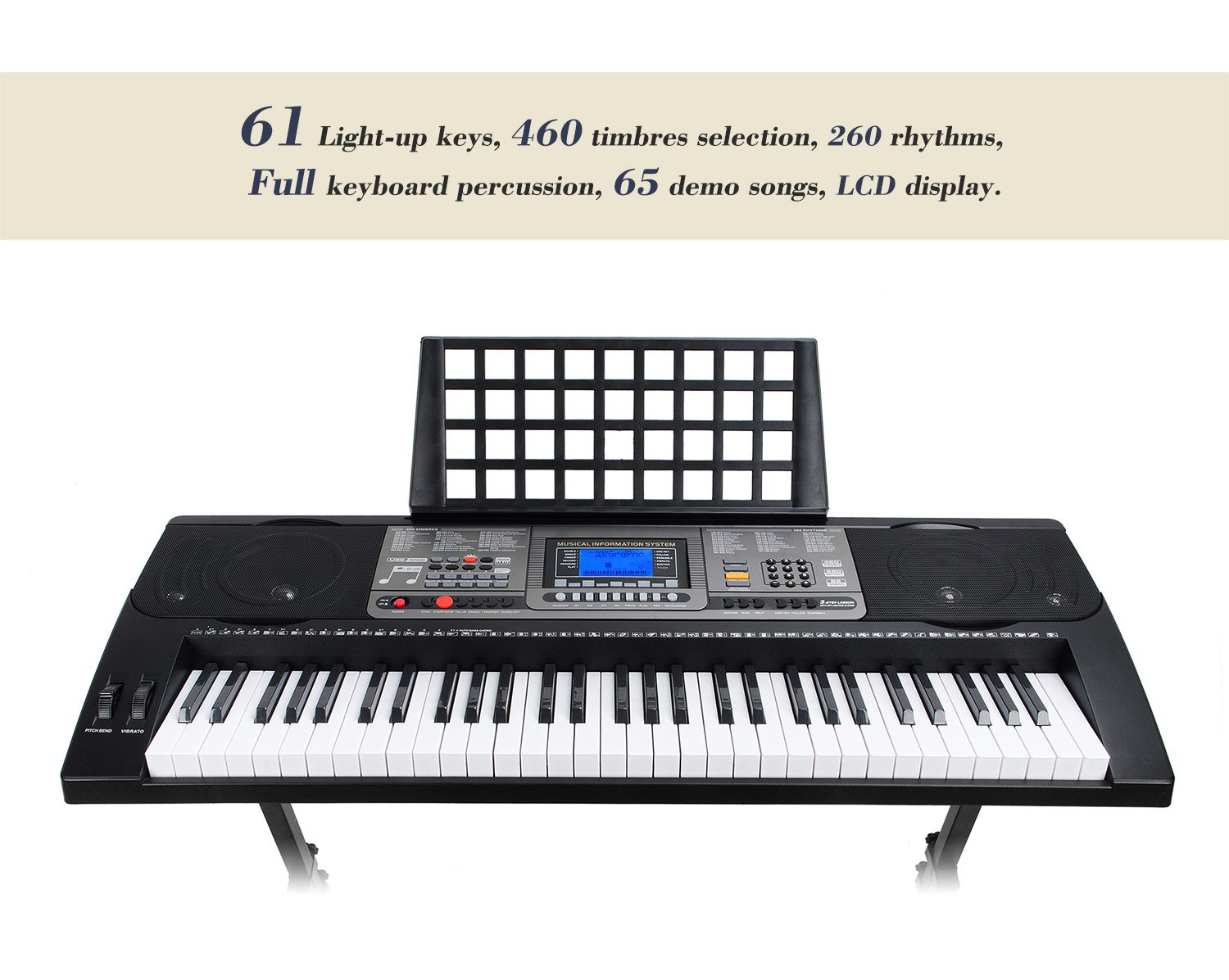 Smart 61 Keys MK-816 USB-MIDI(APP) Electronic Lighting Keyboard Piano with  Music Stand LCD Display Screen for Kids/Adults Learing/Training
