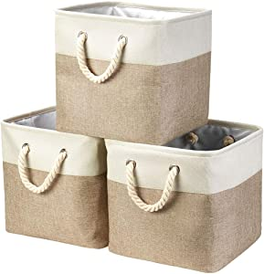 "i BKGOO 3Pack Large Foldable Storage Bins,Collapsible Sturdy Cationic Fabric Organizing Storage Basket Cube with Cotton Handles for Home Office Shelf Clothes Toys White-Khaki (13""×13""×13"")"