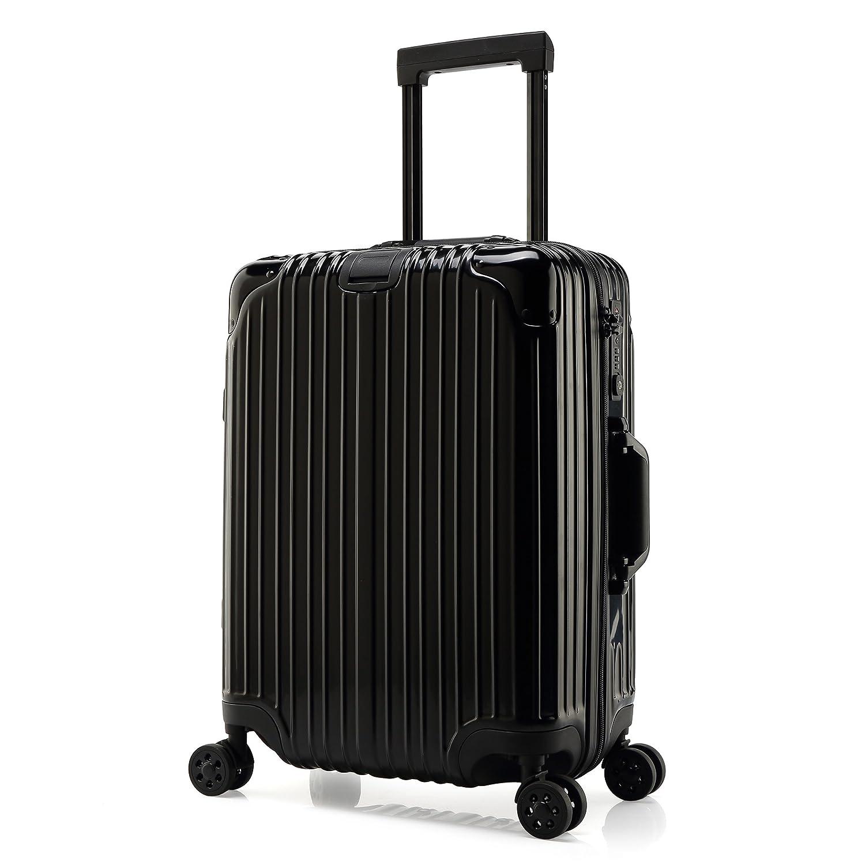 クロース(Kroeus)超軽量スーツケース キャリーケース TSAロック搭載 ファスナー ダブルキャスター 鏡面加工 ヘアライン加工 2種類選び S型機内持ち込み可 日本語取扱説明書 1年間保証 B0788DZ9BL S(1~3泊/40L)|鏡面加工/ブラック 鏡面加工/ブラック S(1~3泊/40L)