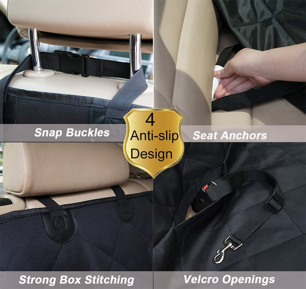 Lepet Dog Car Seat Covers Pet Seat Cover for Cars, Waterproof Scratch Proof and Anti-slip Backing, Padded & Quilted Durable 4 Layers, Machine Washable Car Backseat Cover For Pets by Lepet (Image #3)