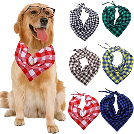 dise/ño de cuadros SLSON 14 Pack Bandana para perro bufanda triangular para mascotas
