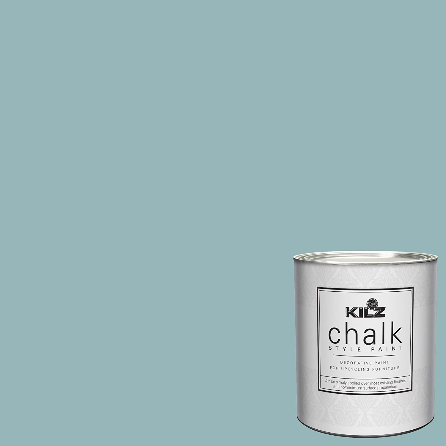 KILZ 00003904 Interior Chalk Style Ultra Flat Decorative Paint for Furniture, 1 Quart, Blue Juniper
