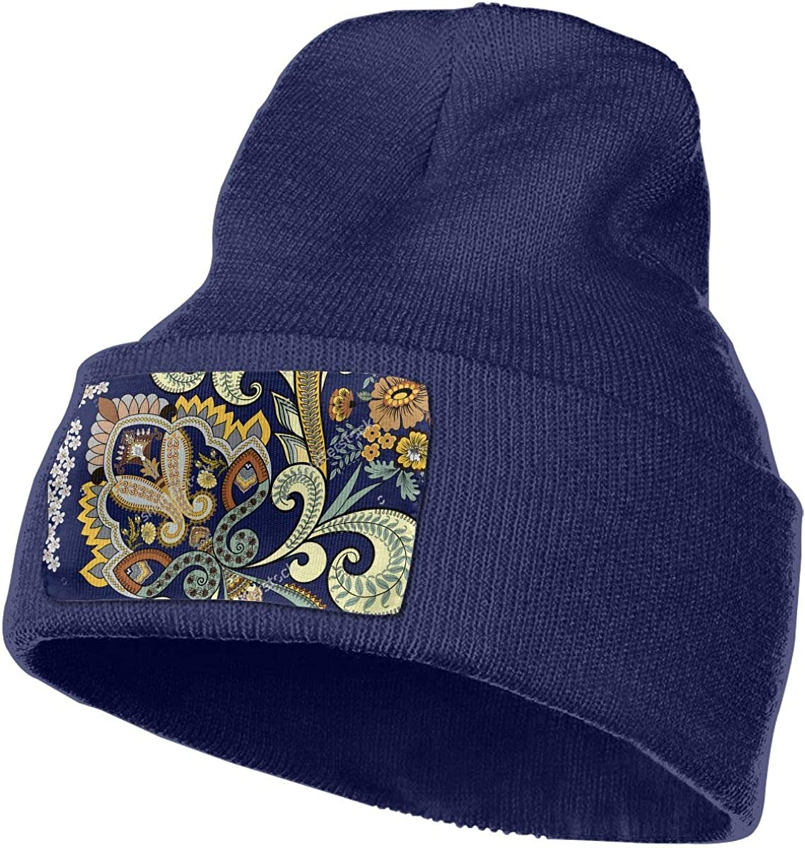 TURQUOISE and BLACK FLOWER Stretch Knit Skullcap Womens Beanie