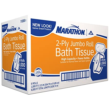 Maratón rodillo enorme papel higiénico - 6 rollos