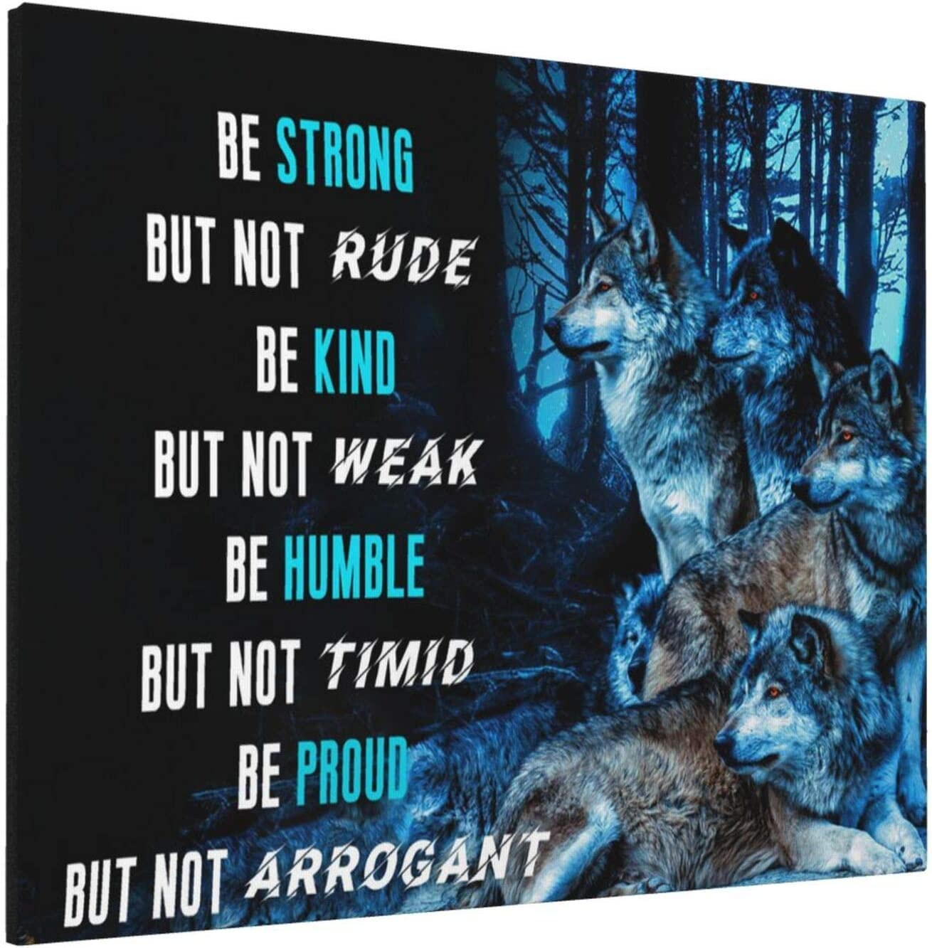 HANKCLES Motivational Wall Art Inspirational Quotes Office Canvas Poster Print Wolf Wall Decor Framed Artwork Mindset Like A Wolf Home Decor for Living Room Bedroom 16x20inch