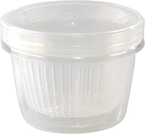 """HOME-X Clear Plastic Storage Container with Removable Strainer and Lid, Small Food Storage Container, 1-Cup Capacity, 4 ½"""" L x 3 ½"""" W x 3 ¼"""" H, Opaque"""
