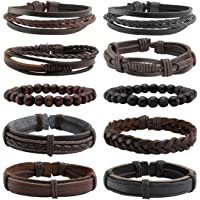 Eigso 5-12Pcs Braided Leather Bracelets Set for Men Women Hemp Cords Wooden Beads Adjustable Wrap Bracelet