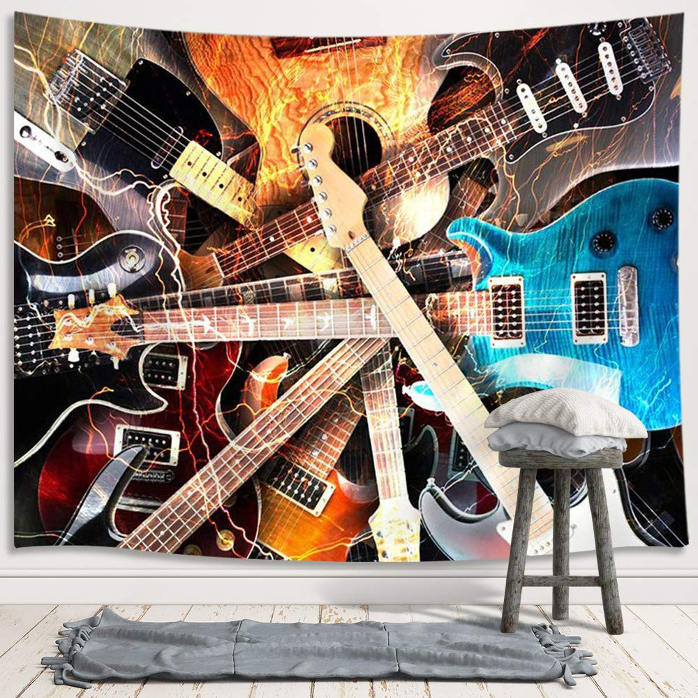 Music Tapestry Wall Hanging, Guitar Musical Instrument Rock Style Lover Premium Home Art Wall Decor, Upgrade Tapestries for Bedroom Living Room College Dorm 80X60 Inches