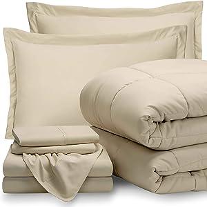 Bare Home Queen Sheet Set - 1800 Ultra-Soft Microfiber Bed Sheets (Queen, Sand) + Comforter Set - All Season (Queen, Sand)