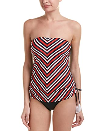 34e3f32daba95 Amazon.com: Tommy Hilfiger Women's True Tommy Stripe Side Cinched Bandeau  Tankini Top Core Navy X-Small: Clothing