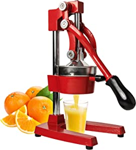 Machika Manual Citrus Juicer for Orange, Lemon, Pomegranate, and Lime Squeezer, Premium Quality, Heavy Duty Fruit and Vegetable Juicer Press Stand with Non-slip (Red)