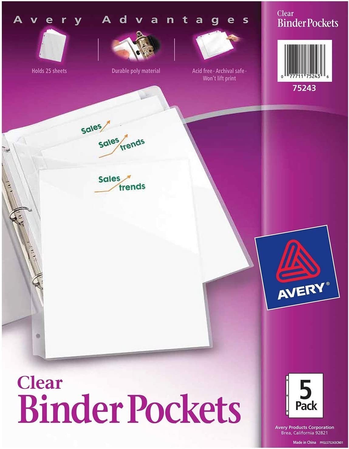 Avery 4-Pack Corner Lock 3-hole Punched Plastic Sleeve Letter Size Clear