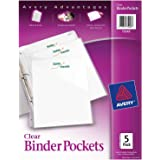 "Avery Binder Pockets, Clear, 8.5"" x 11"", Acid-Free, Durable, 5 Slash Jackets (75243)"