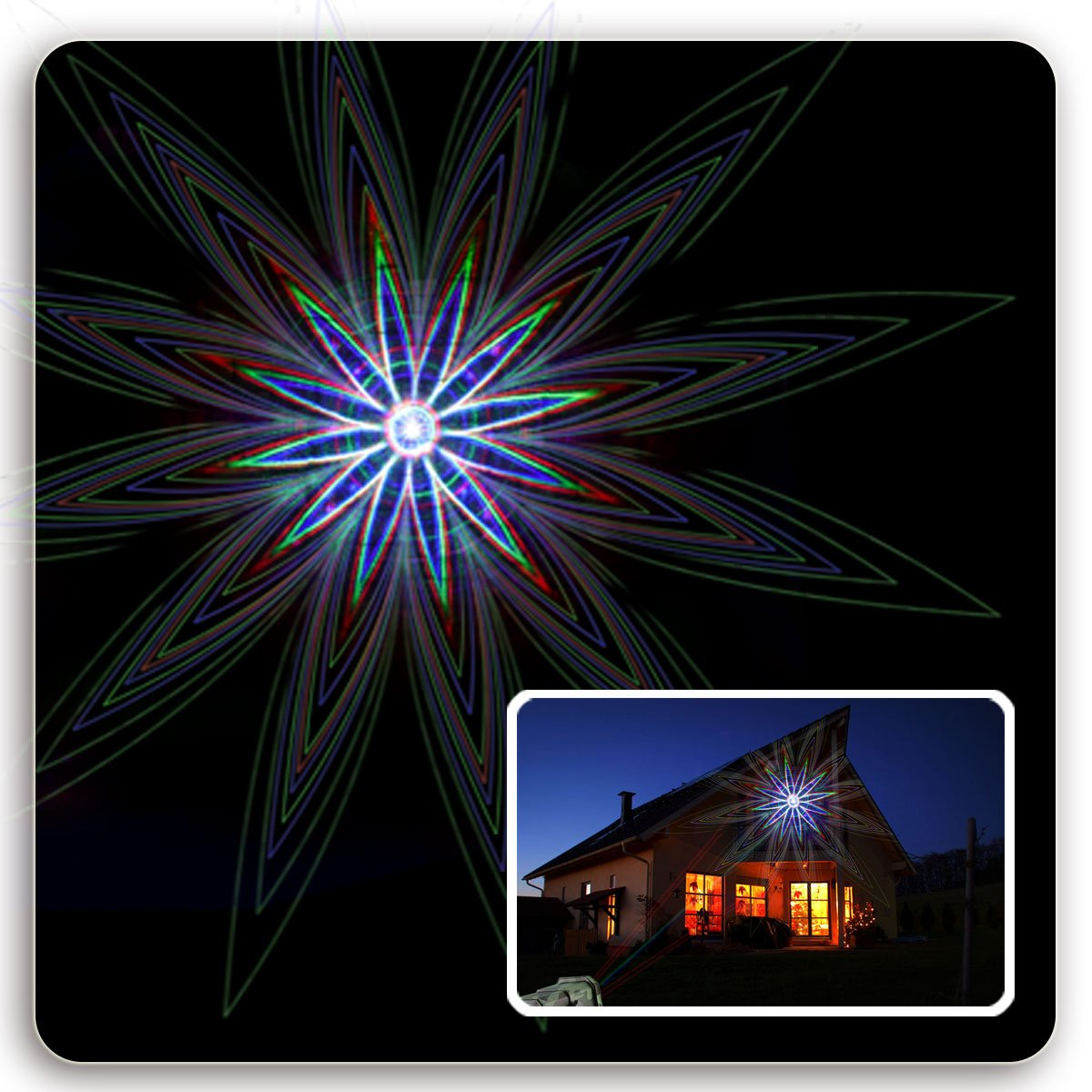 EVA Logik Outdoor Waterproof Laser Projector Light, Moving RGB 20 Patterns, with RF Remote Control & Timer, Perfect for Lawn, Party, Garden Decoration by Eva logik (Image #6)