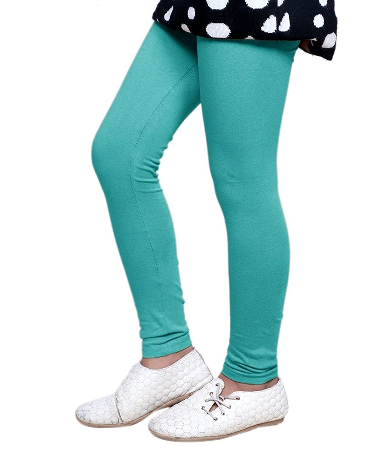 Indistar Girls 2 Cotton Solid Legging Pants /_Multicolor/_Size-7-8 Years/_71414151619-IW-P4-30 Pack Of 4 and 2 Cotton Printed Legging Pants