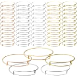 60 Pcs Expandable Bangle Bracelets Adjustable Wire Blank Bracelets, Topbuti Expandable Blank Metal Bracelets Bangles for Women DIY Jewelry Making, 12 Pcs Each Color