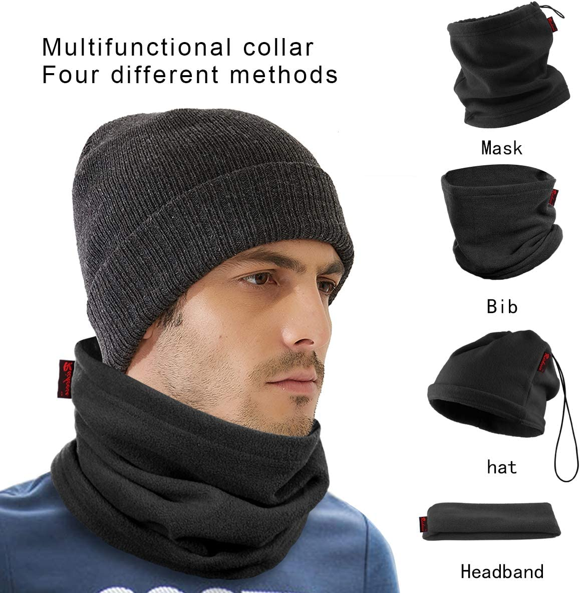 Wisolt Snood Neck Warmer Scarf 3 in 1 Face Warm Mask CS Neck Warmer Beanie Hat Scarf Hood for Cycling Hiking Sking,Unsex