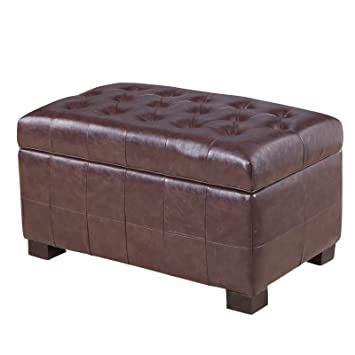 Amazoncom Espresso Storage Bench Tufted Storage Ottoman This