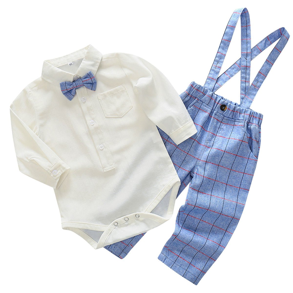 FEOYA Baby Boy Outfit Bodysuit Clothing Set 2 Pieces Romper Shirt Plaid Pants Strap Jumpsuit Overall Age 18-24 Months Grey