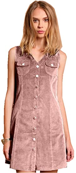 1addf6e5378 Arctic Cubic Sexy Sleeveless V Neck Pocket Button Front Corduroy Mini Tank  Vest Shift Straight Boxy Dress at Amazon Women s Clothing store