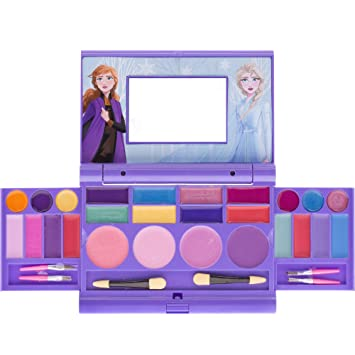Townley Girl Disney Frozen Elsa and Anna Beauty Makeover Compact with Mirror for Girls, Including 6 Lip Glosses, 4 Blushes, 8 Eye Shadow Creams and 8 Eye Shadow Powders, Ages 3 and up