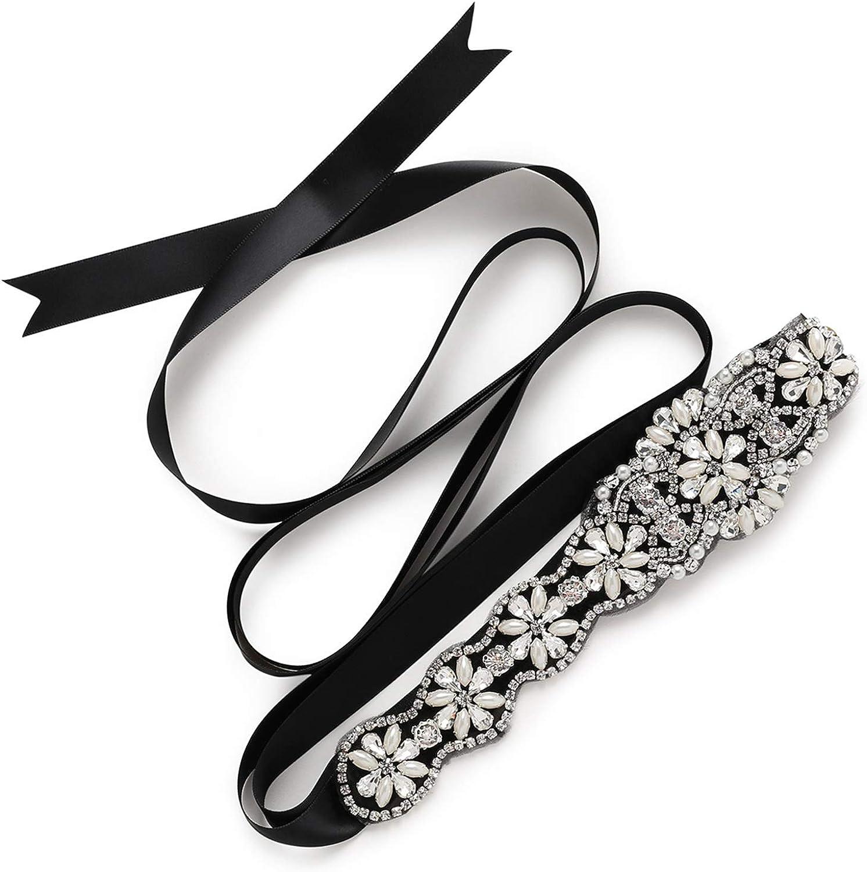 SWEETV Squisito Fascia Cristallo Rhinestones Cintura Abito da Sposa Accessori Cintura Selvaggio Strass Matrimonio 220cm*2cm