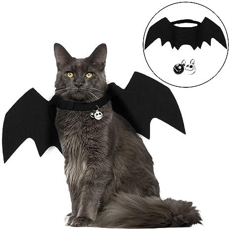 Angshop Disfraz de Gato Halloween, Mascota, Bate de alas, Disfraz de Gato con