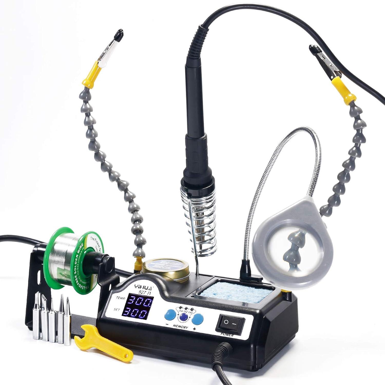 YIHUA 927-IV Station de soudage avec écran numérique à LED 60W, à température réglable et précise avec une troisième main de bras flexibles avec et une lampe-loupe, contrôle de températur