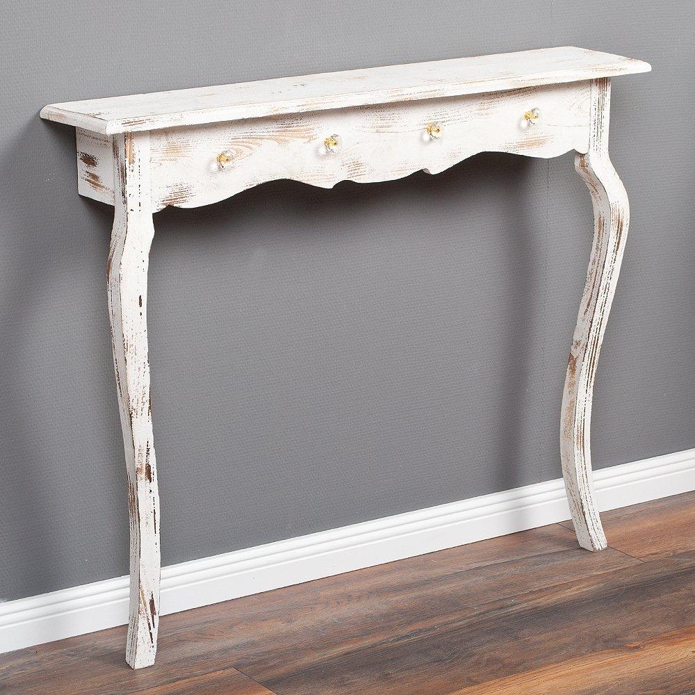 Konsolentisch CLAIRE 98cm Shabby Chic Weiß Massivholz Wandkonsole Tisch Konsole Clayre und Eef