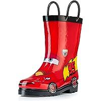 Disney Cars Kids Boys' Lightening McQueen Character Printed Waterproof Easy-On Rubber Rain Boots (Toddler/Little Kids)