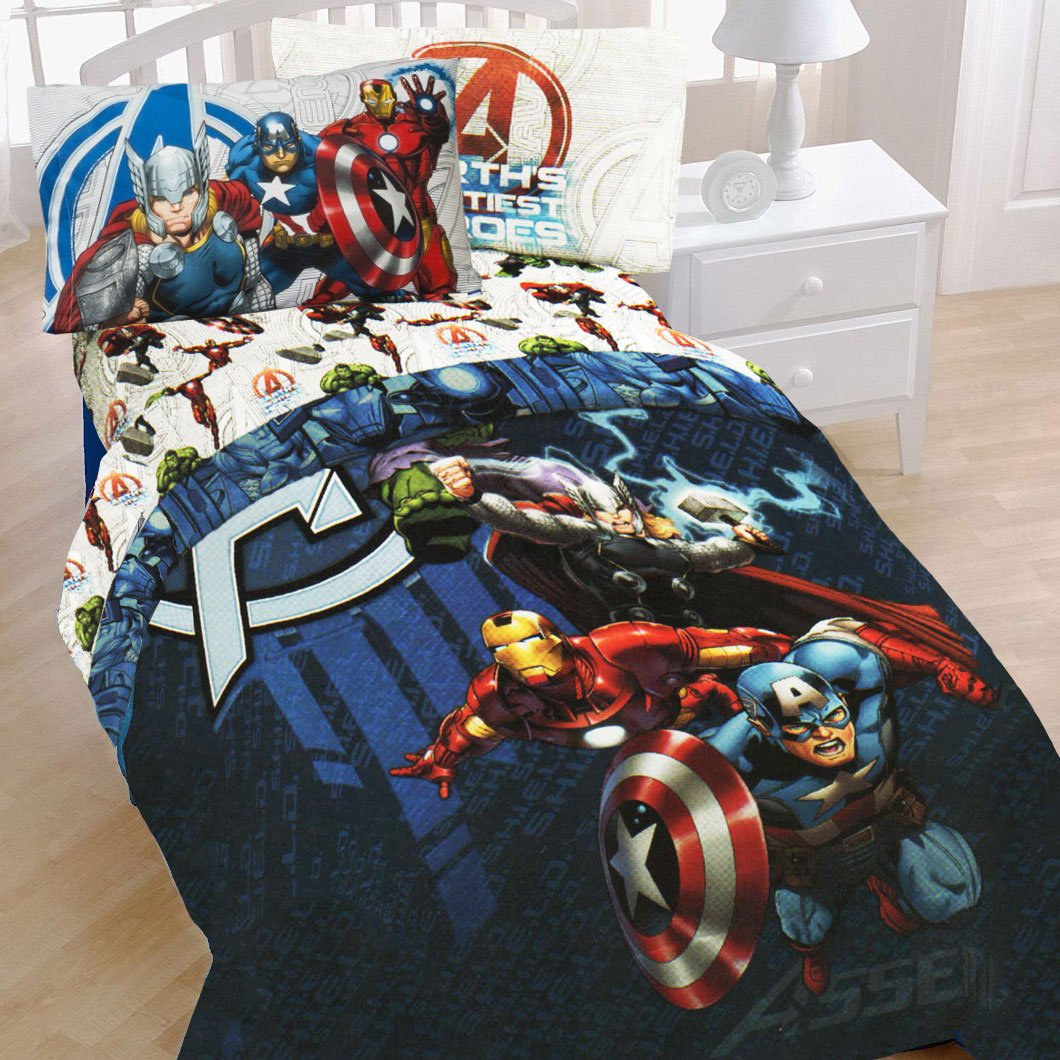 Avengers bedding twin - Amazon Com Avengers Twin Size 4 Piece Bed In A Bag With Sheet Set New Home Kitchen