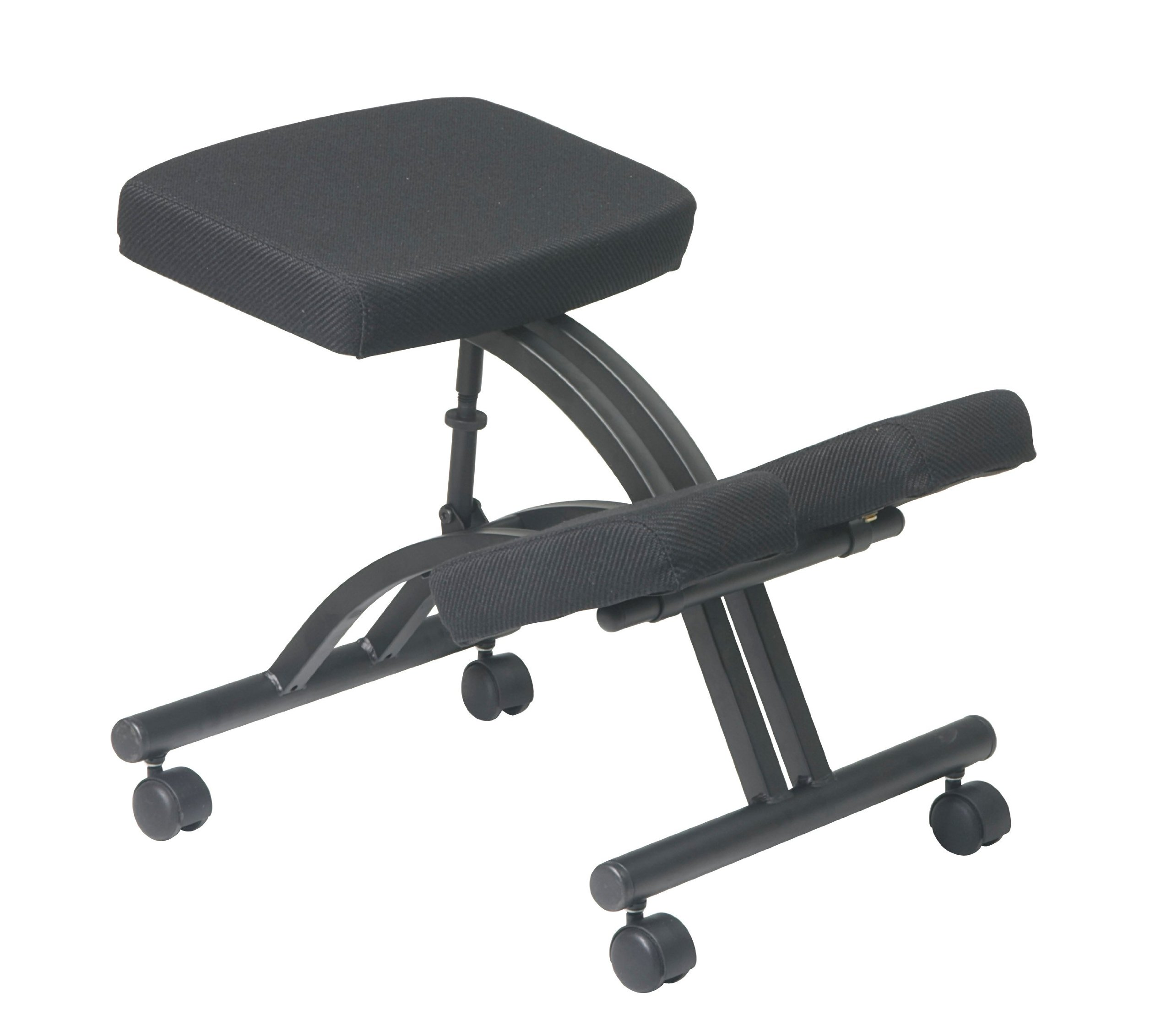 Office Star Ergonomically Designed Knee Chair with Casters, Memory Foam and Black Metal Base Black by Office Star