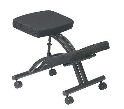 Merveilleux Office Star Ergonomically Designed Knee Chair Casters, Memory Foam Black  Metal Base Black
