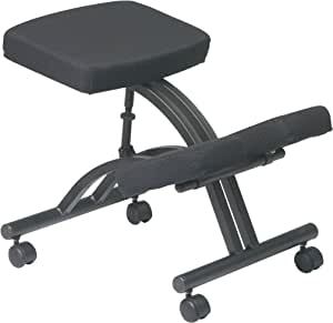Office Star Ergonomically Designed Knee Chair with Casters, Memory Foam and Black Metal Base Black