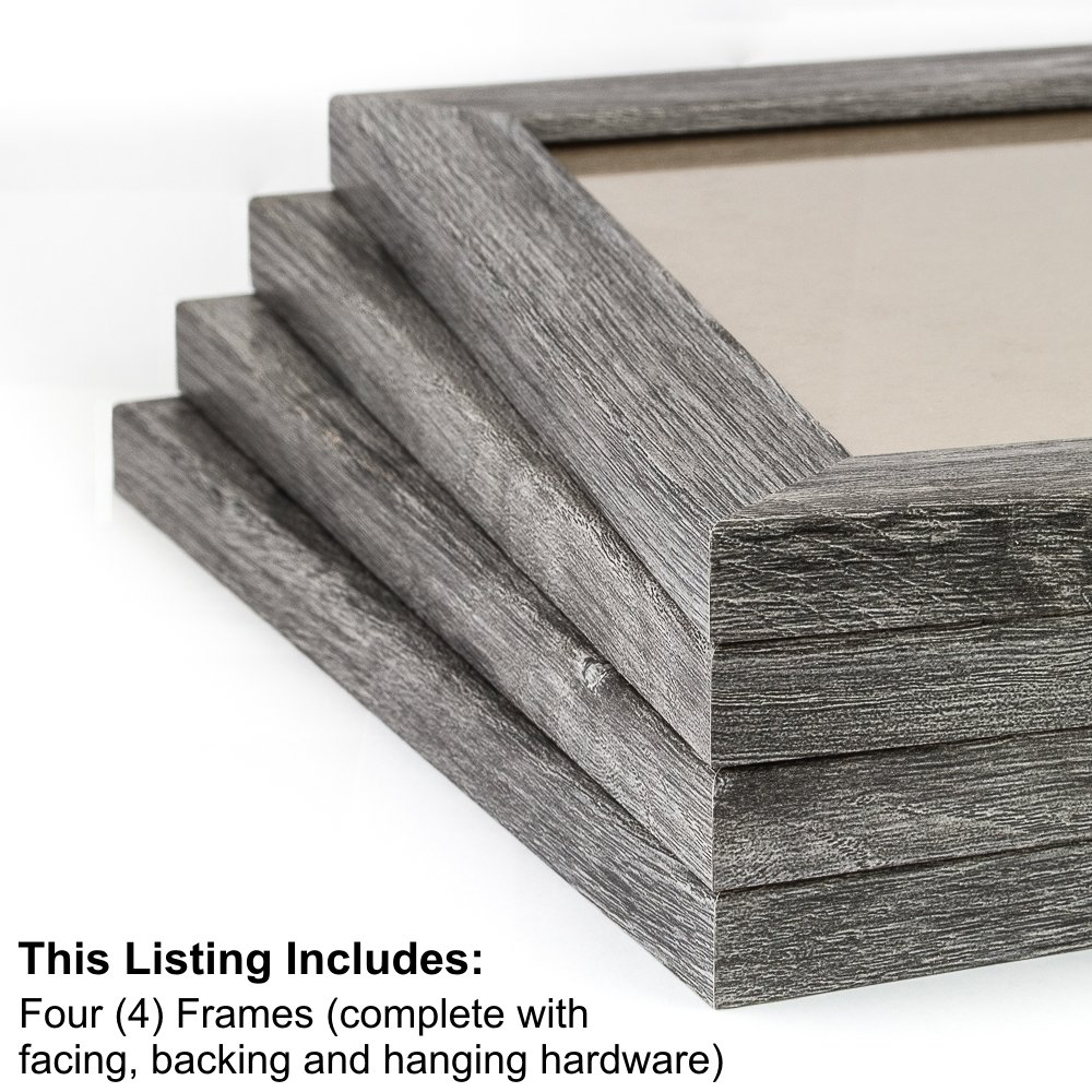 Craig Frames 26030 20 by 24-Inch Picture Frame 4-Piece Set, Smooth Finish, 1.25-Inch Wide, Gray Barnwood