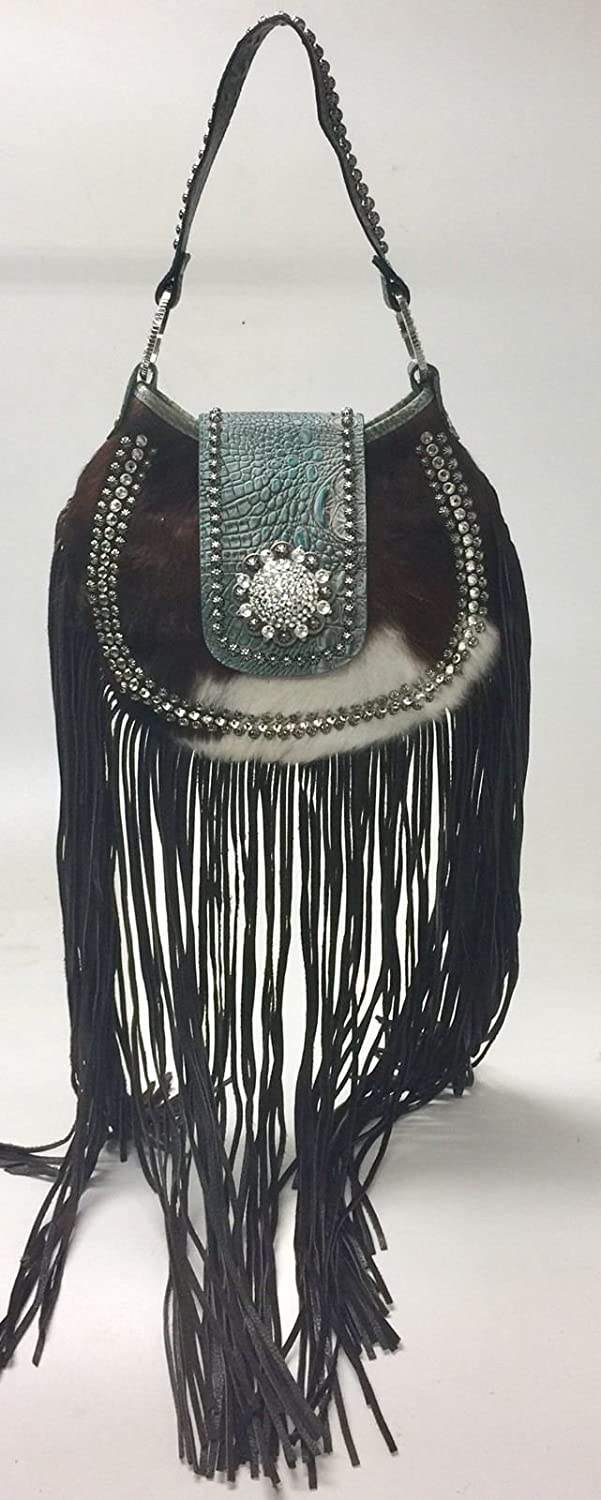 Amazon.com  Raviani New Leather Hobo Long Fringe Bag W  Turquoise Leather  Brindle W Crystal Concho  Shoes ce521e762d7af
