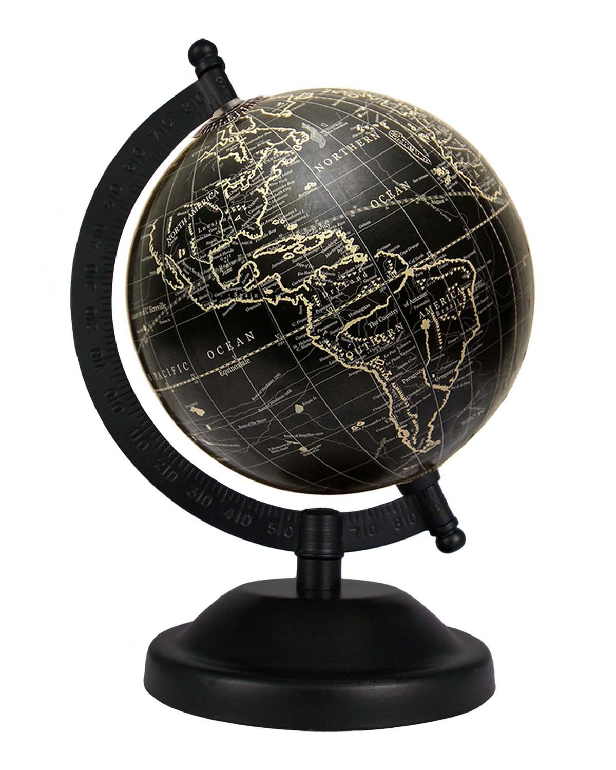 Rotating Black Globe 5 Inches Indian Handmade Geographical Table Top Gift