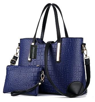 d7e53005ee Greeniris fille sac main faux cuir femme bourse 2pcs sac à main femme pas  cher Bleu