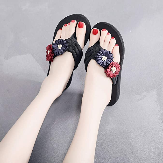 Joyhul 2019 Women Summer Slipper Solid Color Flower Zapatos Mujer Ladies Home Flip Flops Slipper Beach Shoes Casual,Beige,38,China