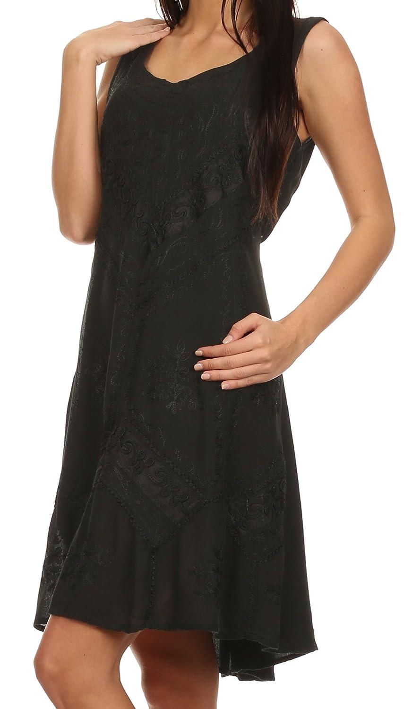 731e51866fbc Sakkas Sudha Stonewash Embroidery Mid Length Adjustable Dress at Amazon  Women's Clothing store: