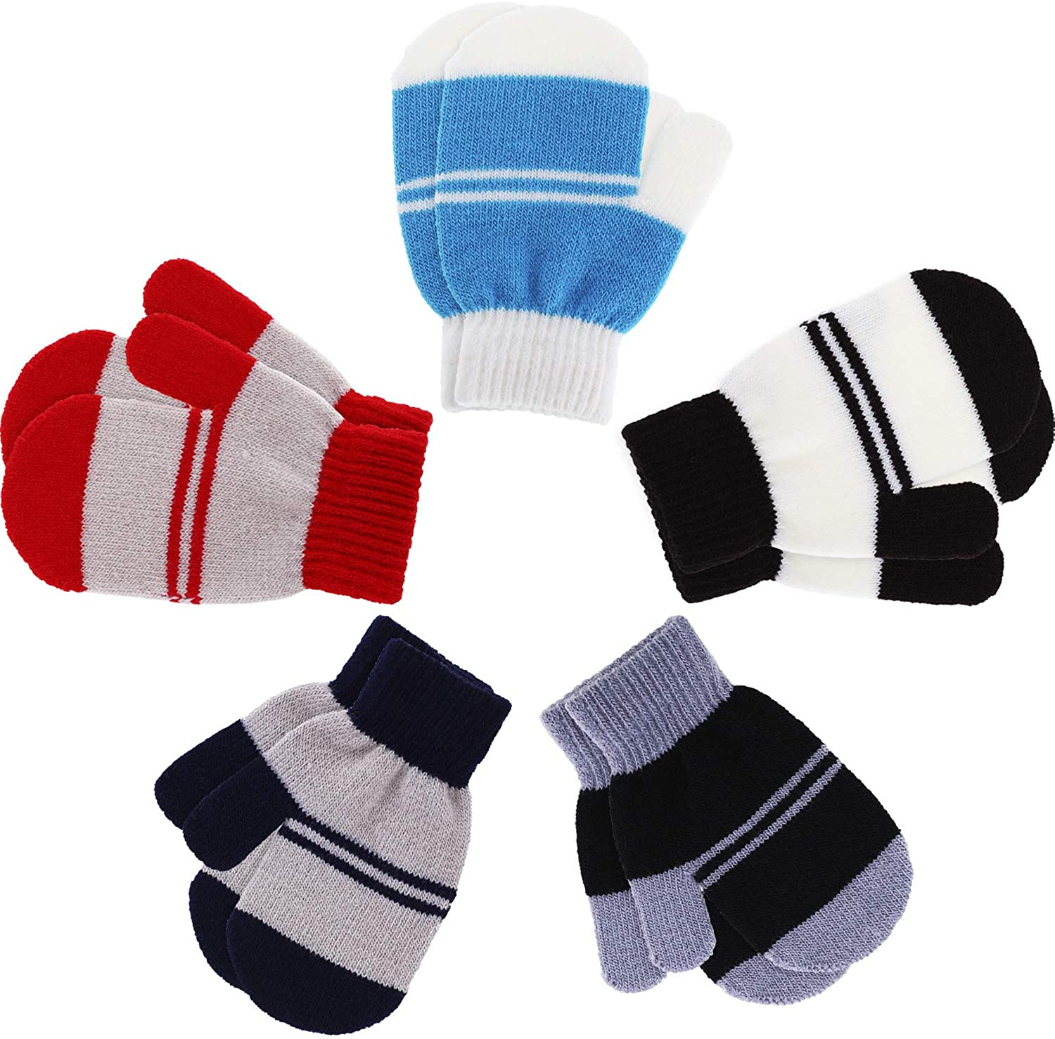Boao 5 Pairs Stretch Full Finger Mittens Knitted Gloves Winter Warm Kid Gloves for Baby Boys and Girls Supplies (Color Set 4, 1 - 4 Years Size)