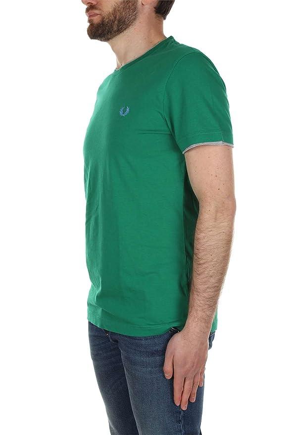 Fred Perry - Camiseta - para Hombre Multicolor Verde: Amazon.es ...