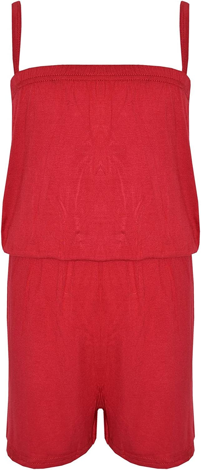 A2Z 4 Kids Girls Plain Color Jumpsuit Trendy Summer All in One Plain Playsuit Red 11-2