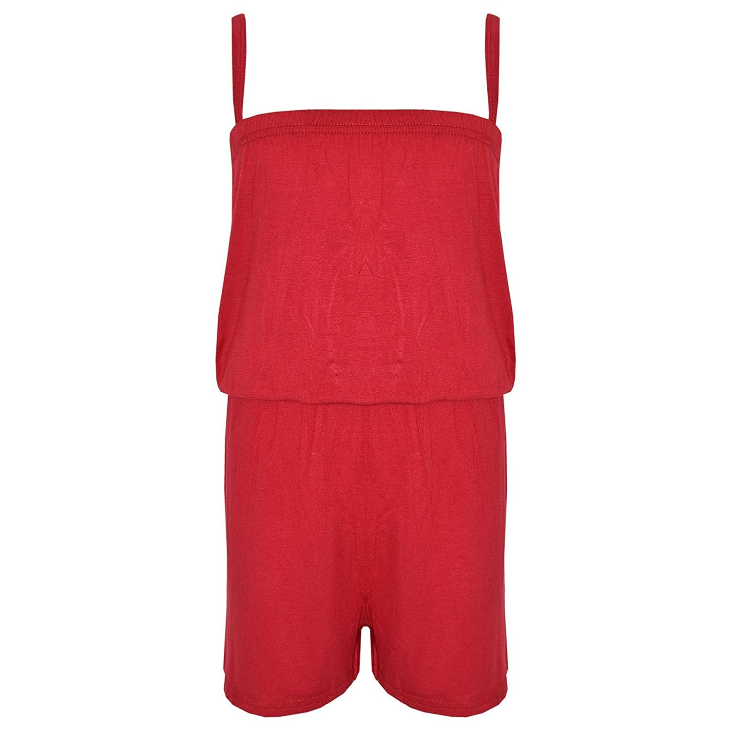 Kids Girls Plain Red Color Playsuit Trendy All in One Jumpsuit New Age 5-13 Yr