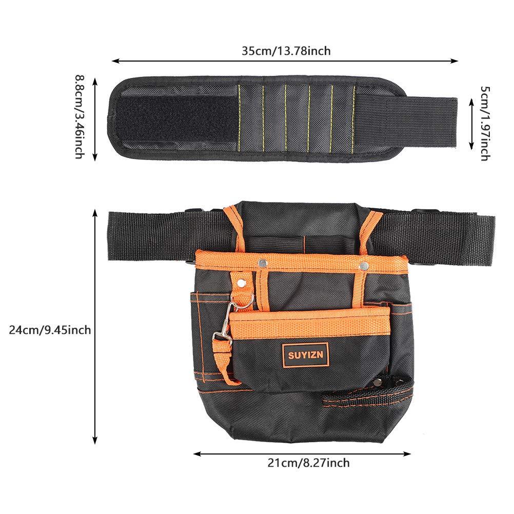 Cinturon para Herramientas Magn/ético Pulseras Mu/ñequera 600D Oxford Impermeable Cintur/ón de Ajustable Multifunci/ón Organizadores de Herramientas TIMESETL Bolsa para Electricista