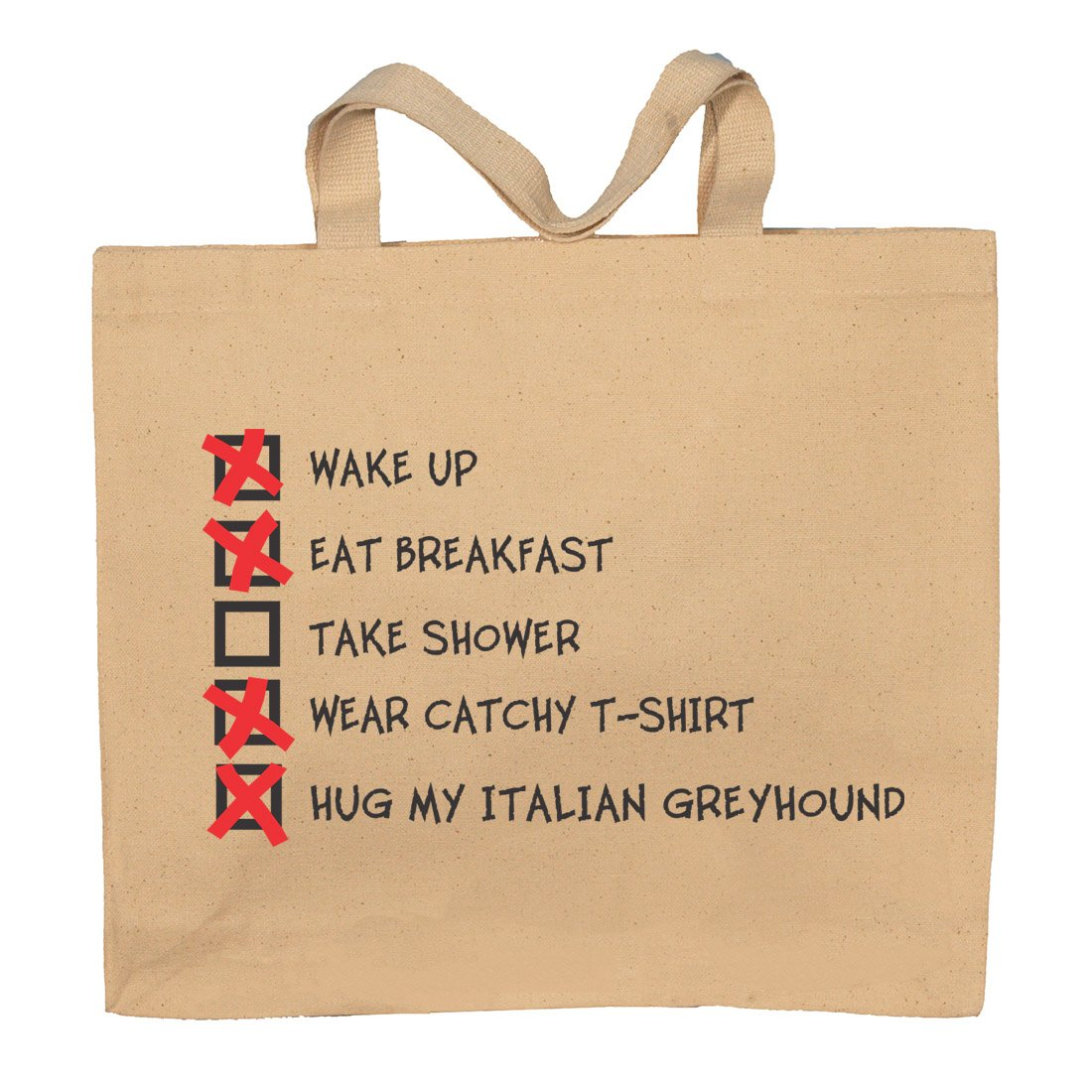 Hug My Italian Greyhound Checklist Totebag Bag