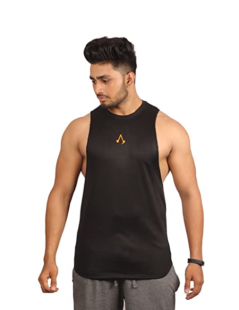 0eea225bba630 Inkwasi Men s Polyester dri-fit with neon Logo Gym Sleeveless Sando (Vest) (