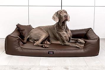 tierlando G4-L-01 Articulos ortopedicos Cama para perro GOOFY VISCO Anti- pelo Cuero artificial Sofá para perro Cuna para perro Talla L 100cm Marrón Orto: ...