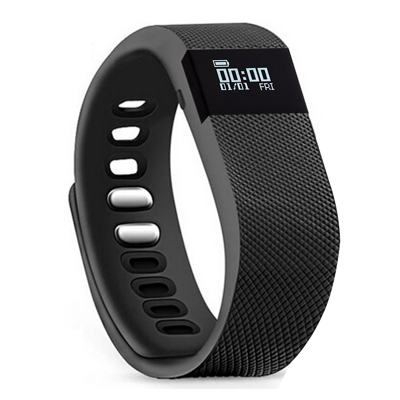 Fitness Tracker,Teslasz Bluetooth 4.0 Sleep Monitor Calorie Counter Pedometer Sport Activity Tracker for Android and IOS Smart Phone (ブラック) B01KFLZ1CU ブラック
